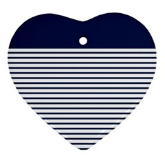 Horizontal Stripes Blue White Line Ornament (heart) by Mariart