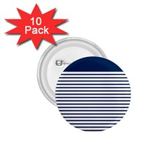 Horizontal Stripes Blue White Line 1 75  Buttons (10 Pack)