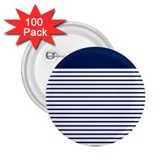 Horizontal Stripes Blue White Line 2 25  Buttons (100 Pack)  by Mariart