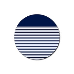 Horizontal Stripes Blue White Line Rubber Coaster (round)  by Mariart
