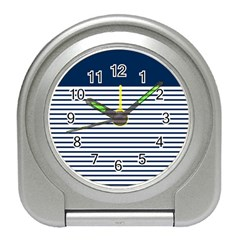 Horizontal Stripes Blue White Line Travel Alarm Clocks by Mariart