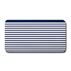 Horizontal Stripes Blue White Line Medium Bar Mats by Mariart