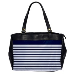 Horizontal Stripes Blue White Line Office Handbags by Mariart