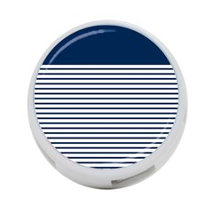 Horizontal Stripes Blue White Line 4 Port Usb Hub (two Sides)  by Mariart