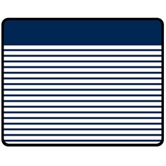 Horizontal Stripes Blue White Line Fleece Blanket (medium)  by Mariart