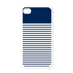 Horizontal Stripes Blue White Line Apple Iphone 4 Case (white) by Mariart