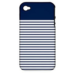 Horizontal Stripes Blue White Line Apple Iphone 4/4s Hardshell Case (pc+silicone) by Mariart
