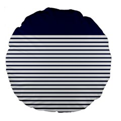 Horizontal Stripes Blue White Line Large 18  Premium Round Cushions by Mariart
