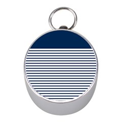 Horizontal Stripes Blue White Line Mini Silver Compasses by Mariart