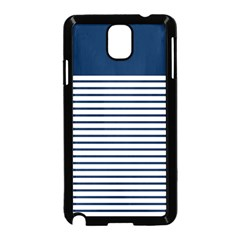 Horizontal Stripes Blue White Line Samsung Galaxy Note 3 Neo Hardshell Case (black) by Mariart