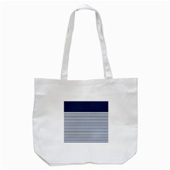 Horizontal Stripes Blue White Line Tote Bag (white) by Mariart