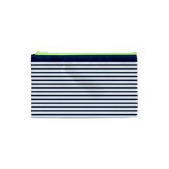 Horizontal Stripes Blue White Line Cosmetic Bag (xs) by Mariart