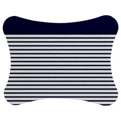 Horizontal Stripes Blue White Line Jigsaw Puzzle Photo Stand (bow) by Mariart