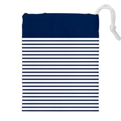 Horizontal Stripes Blue White Line Drawstring Pouches (xxl) by Mariart