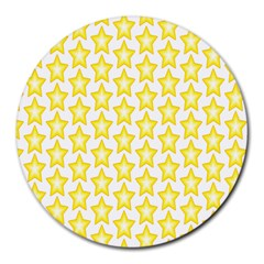 Yellow Orange Star Space Light Round Mousepads by Mariart