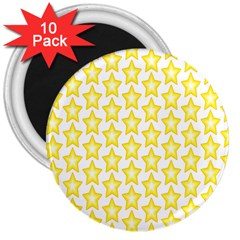 Yellow Orange Star Space Light 3  Magnets (10 Pack)  by Mariart