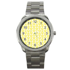 Yellow Orange Star Space Light Sport Metal Watch by Mariart