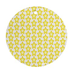 Yellow Orange Star Space Light Round Ornament (two Sides) by Mariart