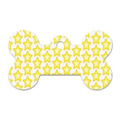 Yellow Orange Star Space Light Dog Tag Bone (one Side) by Mariart