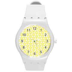 Yellow Orange Star Space Light Round Plastic Sport Watch (m) by Mariart