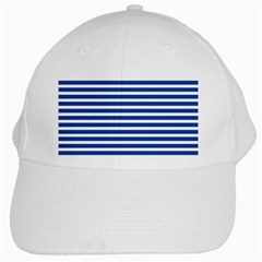 Horizontal Stripes Dark Blue White Cap by Mariart