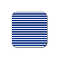 Horizontal Stripes Dark Blue Rubber Coaster (square)  by Mariart