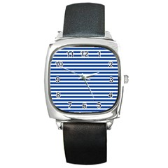 Horizontal Stripes Dark Blue Square Metal Watch by Mariart