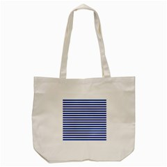 Horizontal Stripes Dark Blue Tote Bag (cream) by Mariart