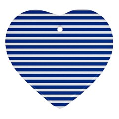 Horizontal Stripes Dark Blue Heart Ornament (two Sides) by Mariart