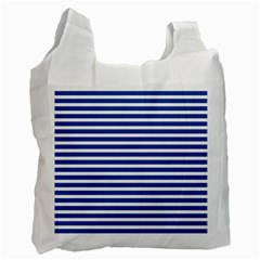 Horizontal Stripes Dark Blue Recycle Bag (one Side) by Mariart