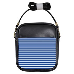 Horizontal Stripes Dark Blue Girls Sling Bags by Mariart