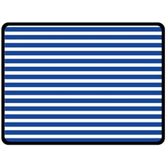 Horizontal Stripes Dark Blue Fleece Blanket (large)  by Mariart