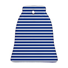 Horizontal Stripes Dark Blue Ornament (bell) by Mariart