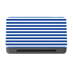 Horizontal Stripes Dark Blue Memory Card Reader With Cf by Mariart