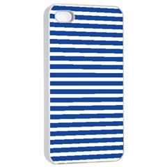 Horizontal Stripes Dark Blue Apple Iphone 4/4s Seamless Case (white) by Mariart