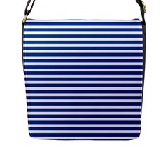 Horizontal Stripes Dark Blue Flap Messenger Bag (l)  by Mariart