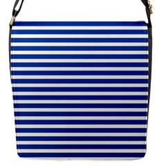 Horizontal Stripes Dark Blue Flap Messenger Bag (s) by Mariart