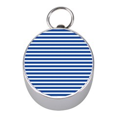 Horizontal Stripes Dark Blue Mini Silver Compasses by Mariart