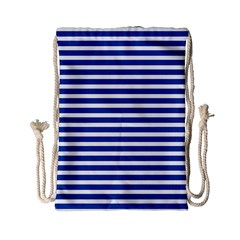 Horizontal Stripes Dark Blue Drawstring Bag (small) by Mariart