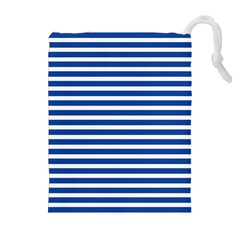 Horizontal Stripes Dark Blue Drawstring Pouches (extra Large) by Mariart