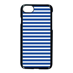 Horizontal Stripes Dark Blue Apple Iphone 7 Seamless Case (black) by Mariart