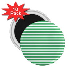 Horizontal Stripes Green 2 25  Magnets (10 Pack)  by Mariart