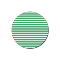 Horizontal Stripes Green Rubber Coaster (round)  by Mariart