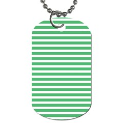 Horizontal Stripes Green Dog Tag (two Sides) by Mariart