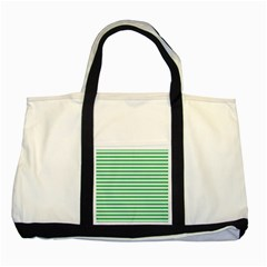 Horizontal Stripes Green Two Tone Tote Bag by Mariart