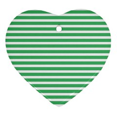 Horizontal Stripes Green Heart Ornament (two Sides) by Mariart