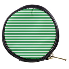 Horizontal Stripes Green Mini Makeup Bags by Mariart
