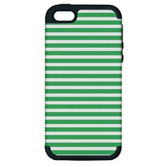 Horizontal Stripes Green Apple Iphone 5 Hardshell Case (pc+silicone) by Mariart