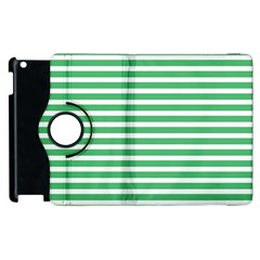 Horizontal Stripes Green Apple Ipad 3/4 Flip 360 Case by Mariart