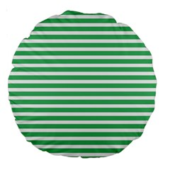 Horizontal Stripes Green Large 18  Premium Round Cushions by Mariart